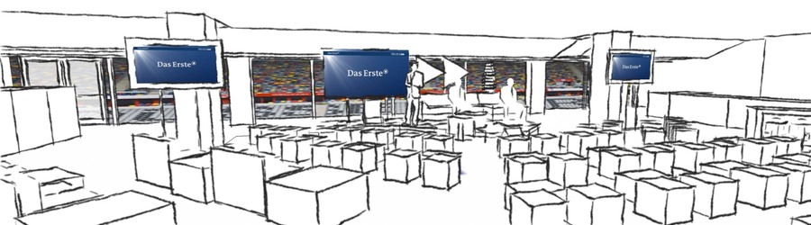 ARD ASS PREVIEW 2012 Roadshow scribble 3D Planung Esprit Arena Düseldorf SANDBURG event production support