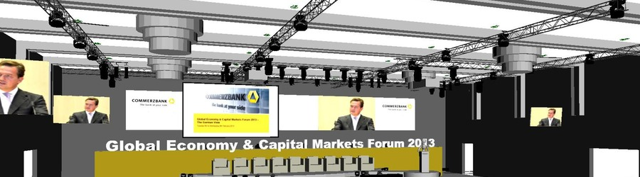 Commerzbank AG Global Economy & Capital Markets Forum 2013 Marriott Hotel Frankfurt scribble 3D Planung SANDBURG event production support