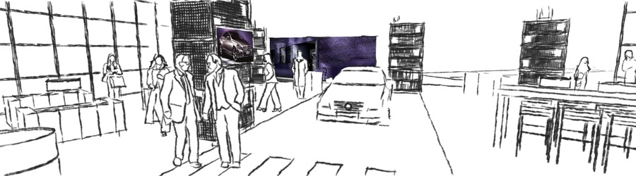 Mercedes Benz Daimler CLS Präsentation 2 scribble 3D Planung SANDBURG event production support